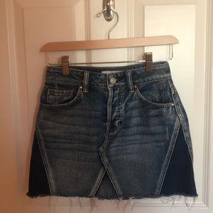 Pacsun color block distressed denim skirt!
